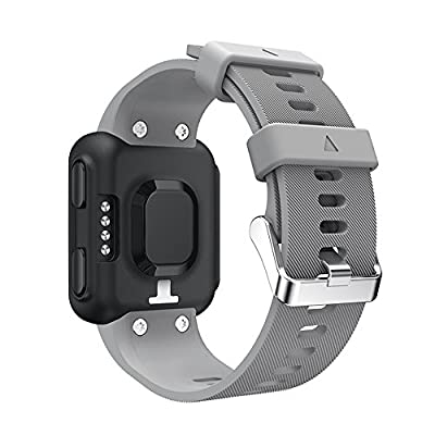 aczer-Y Garmin Forerunner 35 Accessories Watchbands,10 Color Replacement Watch Band with Stainless Buckle and Rubber Strap for Garmin Forerunner 35 Wrist Band (grey)
