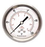 2-1/2'' Liquid Filled Pressure Gauges - Stainless Steel Case, Brass, 1/4'' NPT, Center Back Mount Connection 0-100PSI
