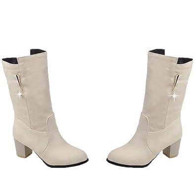Women Mid Calf Boots Kitten Heel Rhinestone Short Boots Slip On