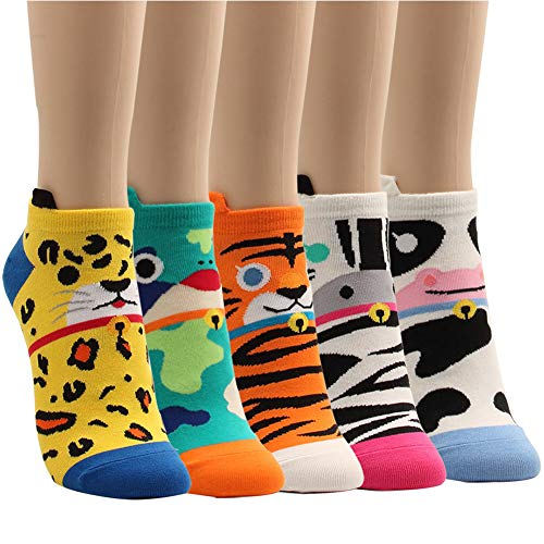 Socks Womens Baseball - WOWFOOT Women Girls Sweet Animal Zoo Cute Funny Novelty Crew Dog Cat Owl Penguin Socks (Animal Sneakers Socks-5pairs)