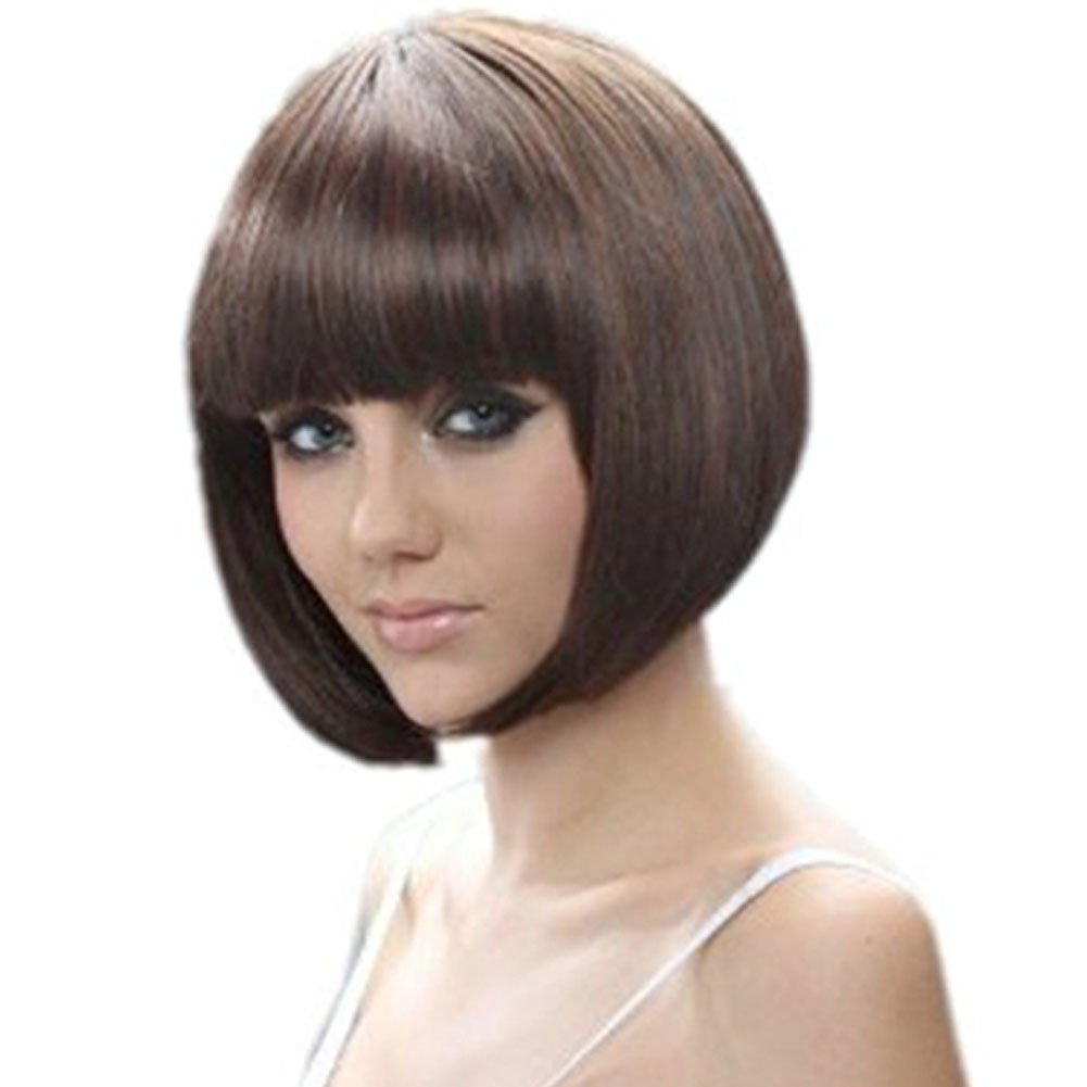 RoyalStyle 11.8''30cm Short Hair Natural As Real Cosplay Bob Wigs(Brown) by RoyalStyle