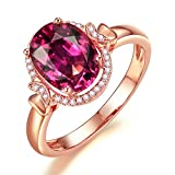 Attractive Fashion Jewelry 14K Rose Gold Natural Diamond Natural Pink Tourmaline Engagement Ring