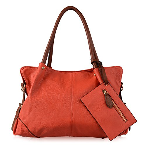 AB Earth 3 Pieces Women Hobo Handbag PU Leather Totes Matching Wallet Satchel Shoulder Bag, M898 (Orange) by AB Earth
