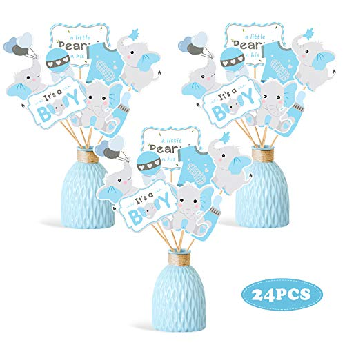 Baby Boy Centerpieces (Faisichocalato Blue Elephant Centerpiece Sticks DIY Baby Boy It's A Boy Table Decorations Blue Little Peanut Cutouts for Blue Elephant Theme Baby Shower Birthday Party Supplies Set of)