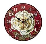 Alien Storehouse [Rosa Blanca] Reloj de Pared de Madera del Vintage DE 14 Pulgadas Reloj de Pared silencioso Decorativo del no-Ticking