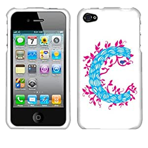 Fincibo (TM) Protector Cover Case Snap On Hard Plastic Front And Back For Apple iPhone 4 4S - C Character