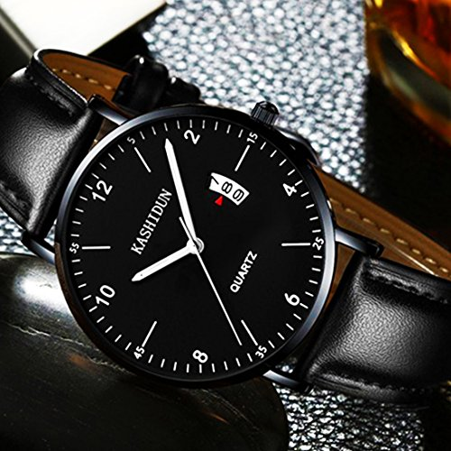 Men's Watches Analog Quartz Leather Dress Watch Sport Clock For Mens Fashion Casual Wristwatch Waterproof Calendar Date Thin&Slim Dial