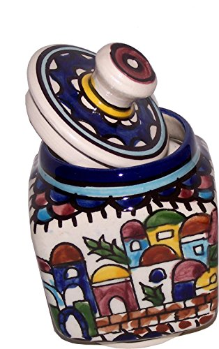 Hand Painted Square Bowl (Jerusalem Sugar Pot - Square - Ceramic painted by hand ( 4 Inches ) - Old City Panorama or view - Asfour Outlet Trademark)