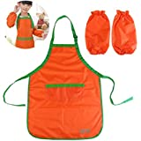 UEETEK Bambini impermeabilizzano Art Craft grembiule per fai da TE pittura disegno con Sleevelet(arancione)