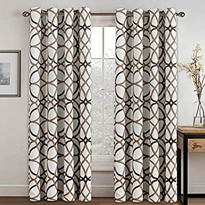 """H.VERSAILTEX Thermal Insulated Blackout Grommet Curtain Drapes for Living Room-52 inch Width by 84 inch Length-Set of 2 Panels-Taupe and Brown Geo Pattern - STANDARD SIZE: These blackout vibrant curtain drapes are sold per set including 2 panels. Panel measures: 52""""W x 84""""L