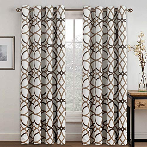 (H.VERSAILTEX Thermal Insulated Blackout Grommet Curtain Drapes for Living Room-52 inch Width by 84 inch Length-Set of 2 Panels-Taupe and Brown Geo)