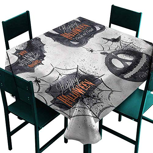 DONEECKL Wrinkle Resistant Tablecloth Vintage Halloween Holiday Witch for Kitchen Dinning Tabletop Decoration W70 xL70 -