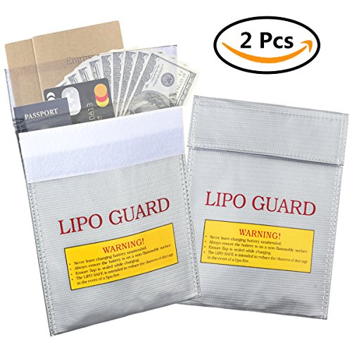 2 Pcs Fire Resistant Document Bag,CBTONE Lipo Battery Fireproof Bag Storage Guard Safe Sleeve Bag Pouch Money Cash Protection bag, 7.1 X 9.1 Inch Silver
