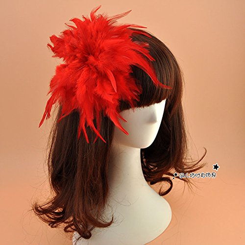 usongs bride red and white feathered headdress large flower hair accessories stage performances hairpin head flower jewelry brooch pin badge exaggerated