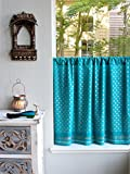 Saffron Marigold – Dreams of India: Jeweled Peacock – Turquoise and Gold Sari Inspired Hand Printed – Sheer Cotton Voile Kitchen Curtain Panel – Rod Pocket – (46 x 24)