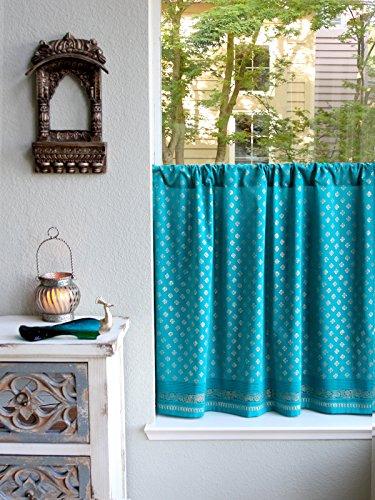 Saffron Marigold – Dreams of India: Jeweled Peacock – Turquoise and Gold Sari Inspired Hand Printed – Sheer Cotton Voile Kitchen Curtain Panel – Rod Pocket – (46 x 24) by Saffron Marigold