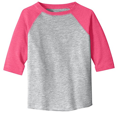 Joe's USA Toddler Baseball Fine Jersey Raglan Tee-3T-VintHeather/VintHotPink