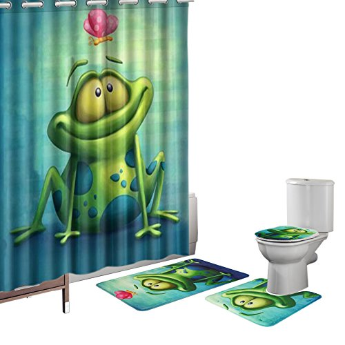 (Amagical 16 Pieces Shower Curtain Set Bathroom Mats Set Non-Slip Rug Carpet Toilet Cover Shower Curtain Cute Frog and Lotus Flower)