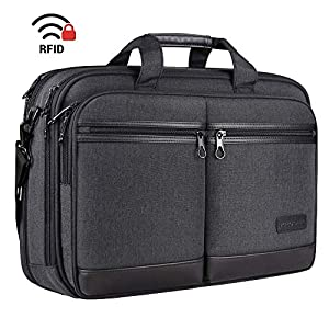 "KROSER 18"" Laptop Bag Stylish Laptop Briefcase Fits Up to 17.3 Inch Expandable Water-Repellent Shoulder Messenger Bag…"