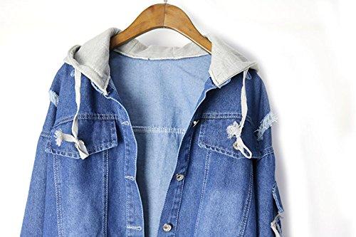 Giacche Blu Patches Denim Jeans Donna Giubotti Ragazze Con Monopetto Cappuccio Moda Classiche Jacket Hop Lunga Donne Unique Giacca Vintage Manica Hip Hipster Mit Giubbino U8gxqdnH