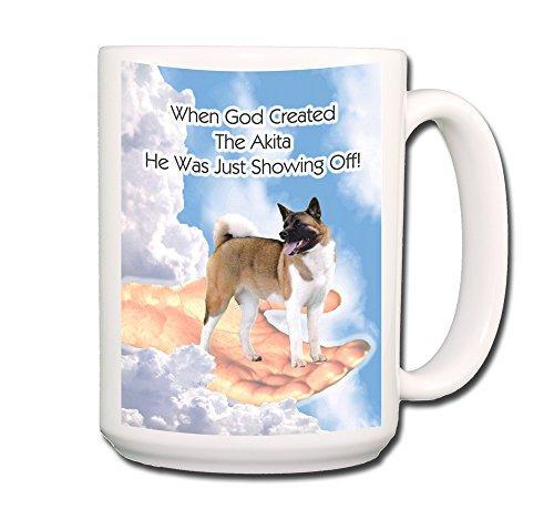 Akita God Showing Off Coffee Tea Mug 15 oz Funny