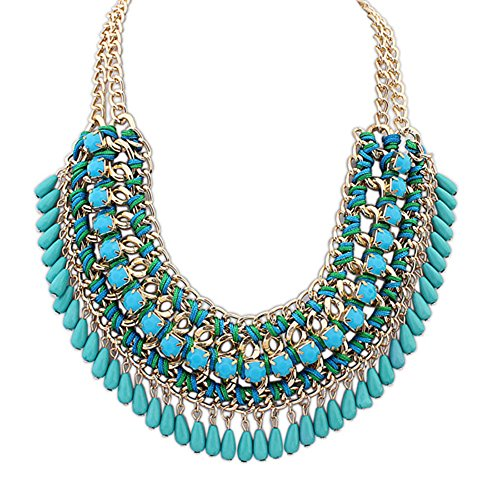 Eyourlife Hot Fashion Retro Jewelry Pendant Knit Chain Choker Chunky Statement Bib Necklace Blue