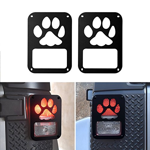 DIYTuning Dog Paw Tail lamp Tail light Cover Trim Guards Protector for Jeep Wrangler JK JKU Unlimited Rubicon Sahara Sport Accessories Parts 2007 2008 2009 2010 2011 2012 2013 2014 2015 2016 2017