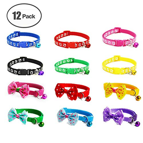 NACOCO 12 Pack Dog ID Collar for Puppy&Kitty Adjustable Soft Polyester Pet Collar with Bell and Bow (12 - Collar Kitty Adjustable