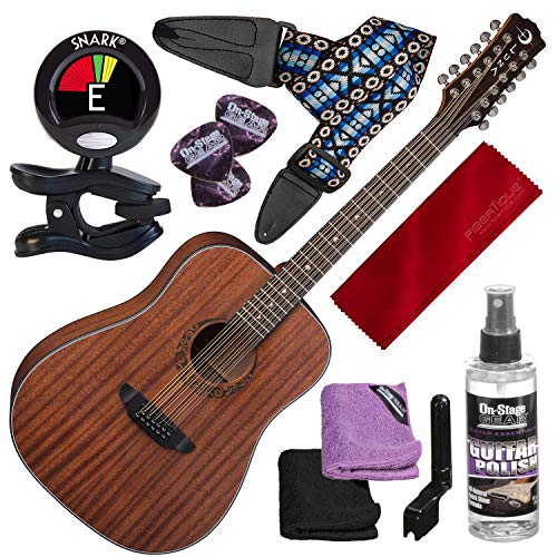 - Luna Gypsy Dreadnought 12-String Mahogany Acoustic Guitar with Clip-On Tuner and Basic Bundle