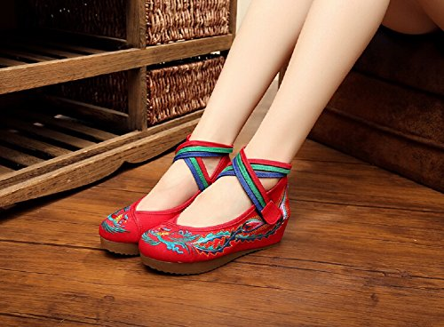 Lazutom Vintage Chinese Style Women Toe Platform Wedges Party Shoes Mary Jane Shoes Red c3ZL7Wn