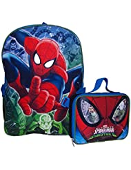 Marvel Spiderman 16 Backpack with Lunch Bag- Ultimate Spider-Man