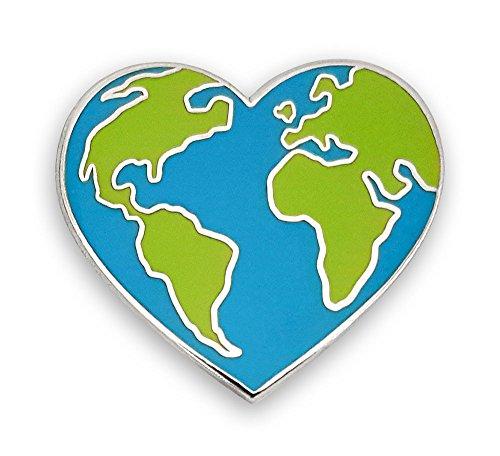 Pinsanity Earth Heart Enamel Lapel Pin (Enamel Globe)