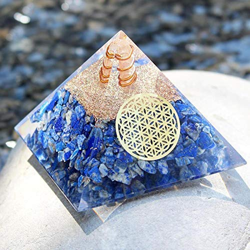 Lapis Lazuli Orgone Pyramid with Charge Crystal Point and Flower of Life Symbol - Quartz Crystal Positive Energy Generator Provides EMF Protection and Positive Energy