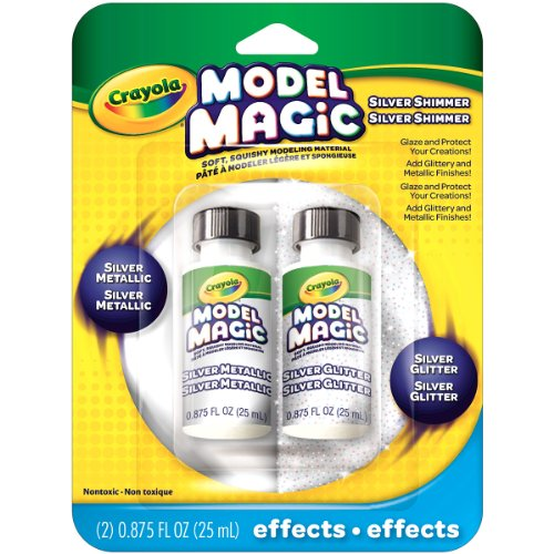 Crayola Model Magic Glitter and Silver Metallic Glaze,2/ Pack