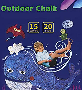 20 Count-15 Colors LUUFAN Dustless Sidewalk Chalk Art Play Set Outdoor Indoor Non-Toxic Chalk for Boys /& Girls