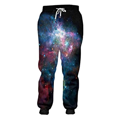 81f80155f5d2 cilily Unisex in voller Länge Hosen Cool Print Galaxy Space 3D ...
