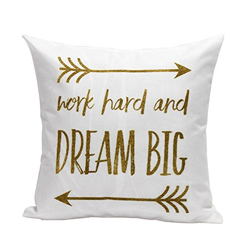 oFloral Arrow Pillow Cover Work Hard and Dream Big Calligraphy Letter Pillowcase Cotton Linen Square Cushion Cover Home Sofa Couch Bedroom Decorative 18
