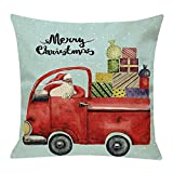 Pgojuni Cotton Linen Christmas Cushion Cover Square Pillow Case Decor Pillow Cases Sofa Cushion Cover 1pc (F)
