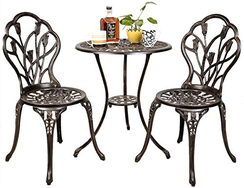 Giantex 3 Piece Bistro Set Cast Tulip Design Antique Outdoor Patio Furniture Weather Resistant Garden Round Table and Chairs w/Umbrella Hole (Tulip Design) (Top Patio Stone Set)