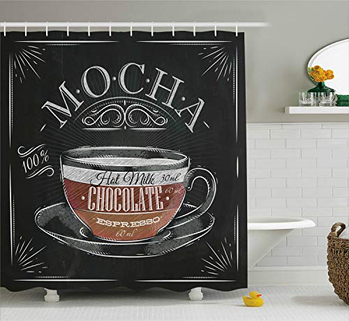 Lunarable Coffee Shower Curtain, Mocha Cup Hot Chocolate Espresso Old Fashioned Italian Chalkboard Design, Cloth Fabric Bathroom Decor Set with Hooks, 84 Inches Extra Long, Black Brown Pale Grey
