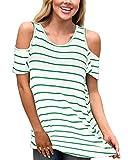 Aliex Women's Cold Shoulder Casual Tunic Top Short Sleeve Blouse T-Shirt Stripe Green M