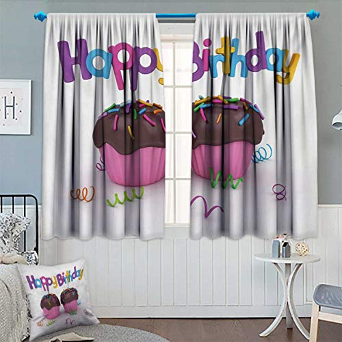 Anhounine Birthday,Blackout Curtain,3D Illustration of Chocolate Covered Cupcakes with Greetings Attached Celebration,Room Darkening Curtains,Multicolor,W63 x L63 inch ()