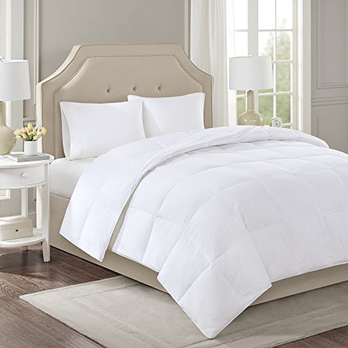 Sleep Philosophy 300 Thread Count Cotton 3M Scotchgard Stain Release White Duck Down Filled Comforter, Twin