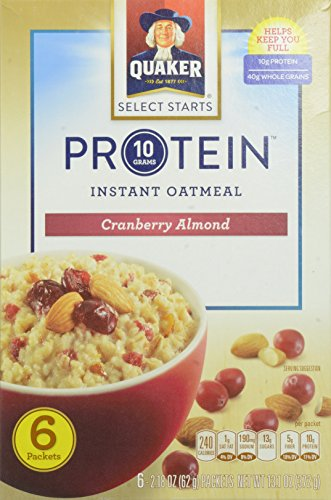Quaker Instant Oatmeal, Protein Cranberry Almond, 2.18 Ounce, 6 Count