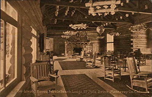 Living Room, Pebble Beach Lodge, 17 Mile Drive Monterey, California Original Vintage Postcard