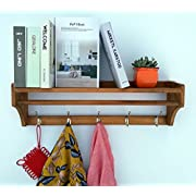 Wood Coat Rack Wall Shelf Wall Mounted Entry Way Coat Rack 25.8wide inch 5hook 1shelf