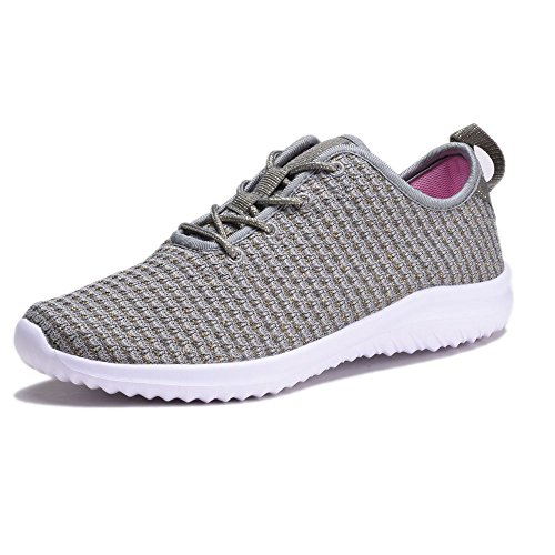 YILAN Women's Fashion Sneakers Breathable Sport Shoes (7, Grey)