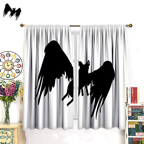 Flying Mount Pig - longbuyer Window Curtain 2 Panel Silhouette Funny Piggy with Wings Flying Pig Pattern Black and White Vector Illustration Drapes Panels W55 x L39