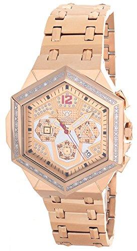 amond Bezel Rose Gold-Tone Chronograph Watch W356 ()