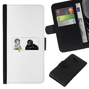 NEECELL GIFT forCITY // Billetera de cuero Caso Cubierta de protección Carcasa / Leather Wallet Case for Samsung ALPHA G850 // Funny Baby Plátano Y Mono del gorila